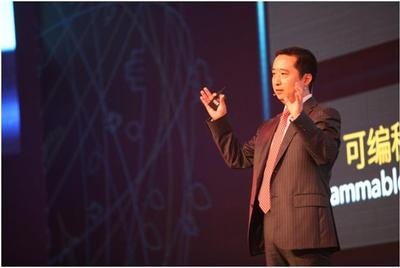 Mr. Liu Shaowei, President of Huawei Enterprise Networking Product Line announced the launch of  the Cloud Connect Solution at Huawei Network Congress 2014 in Beijing