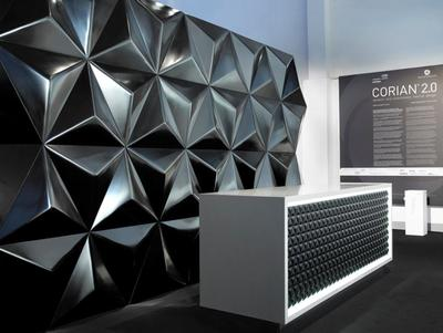 Reception desk and interior wall cladding applied with Corian ® DeepColor™ Technology