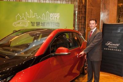 Mr. Michael Ganster, General Manager of Fairmont Beijing jumpstart the BMW i3