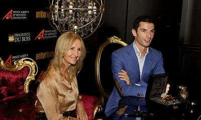 Sonia Irvine and Alexander Rossi at the launch of Oud Amber Intense at Fragrance Du Bois.
