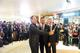 Global style icon David Beckham (centre), David Sylvester, Senior Vice President of Retail, Las Vegas Sands Corp. (right) and Sean Lee Davies (left), the celebrity MC, take a 'selfie' with guests at the unveiling of the new-look Shoppes at Four Seasons on Saturday