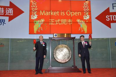 Mr. Fan Cheng (Left), vice president and executive director of Air China, and Mr. Xiao Feng (Right), CFO of Air China, strike the gong to start trading for the day.
