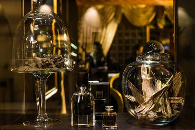 Oud perfume and woodchips showcased in the Fragrance Du Bois Flagship Boutique Store