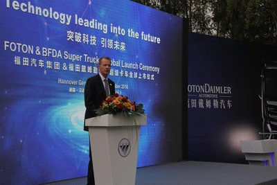 Mr. Michael. J. Ruf, President of Commercial Vehicles, Continental, delivers a speech at Foton Super Trucks Global Launch Ceremony