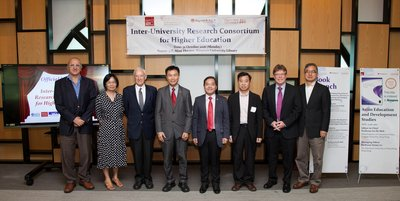 Lingnan University's President Leonard Cheng (4th from left) and Vice-President Joshua Mok Ka-ho (4th from right) with guests attending the launching ceremony.