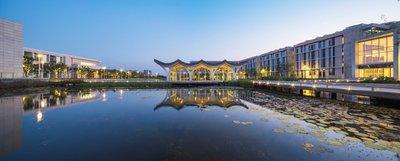 Water Pavilion. A view of Duke Kunshan University, jointly set up by Duke University, China's Wuhan University and the City of Kunshan.
