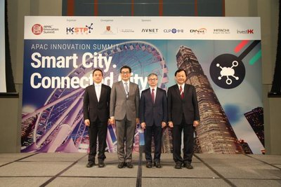 HKSTP stages APAC Innovation Summit 2017 -- Smart City. Connected City. (From left ) HKSTP Chief Technology Officer George Tee, Government Chief Information Officer, HKSAR Government Ir. Allen Yeung, Under Secretary for Innovation and Technology, HKSAR Government Dr David Chung Wai-keung, Provost and Wei Lun Professor of Computer Science and Engineering at the Chinese University of Hong Kong Professor Benjamin Wah.