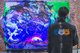 Hua Tunan (Chen Yingjie) created an unconventional larger-than-life painting of a roaring tiger using UV ink that illuminates under black light.