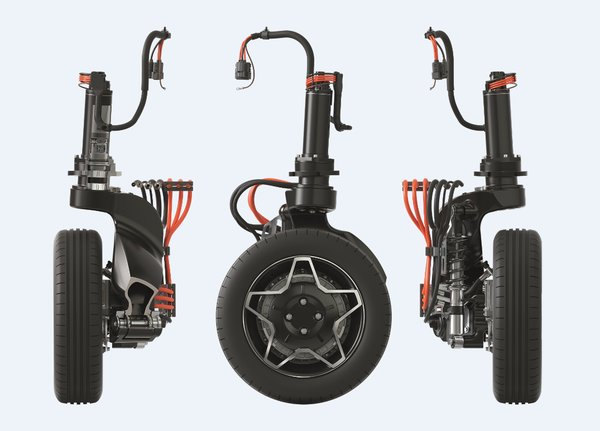 """在""""舍弗勒智能转向驱动模块""""中,所有的驱动和底盘零部件都集成在一个紧凑的单元内,包括轮内电机驱动系统、包含悬架和机电转向执行单元的车轮悬架系统。"""