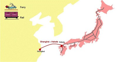 Figure 1: Japan to China rail and ferry overview