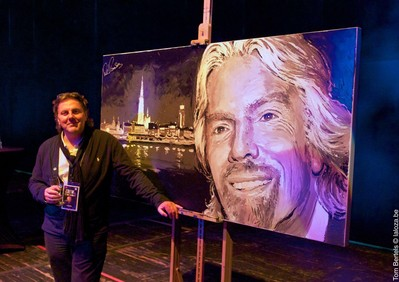 Richard Branson 'Live' Painted by Artist Peter Engels. 'Virgin Unite' Auction: Wednesday 20 June.