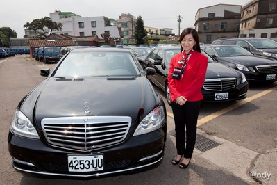 Avis Taiwan Sales Executive Cindy Hsieh shows-off their new fleet of Mercedes Benz cars for their chauffeur drive services.