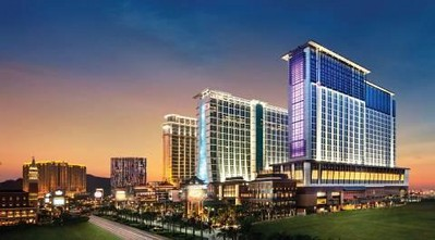 Exterior view of the 3,896-room, Polynesian-themed Sheraton Macao Hotel, Cotai Central, opening September 20 at the Sands Cotai Central integrated resort. The hotel is the largest for both Macao and Starwood Hotels & Resorts.