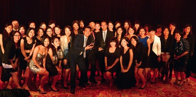 The SPRG team celebrates Richard Tsang's winning the SABRE Awards for Outstanding Individual Achievement and its Singapore team's capturing the inaugural Silver SABRE Award.