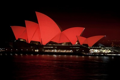 Sydney Opera House Sails turn Red to celebrate Chinese Lunar New Year 2013. Image used under licence from the Sydney Opera House Trust.