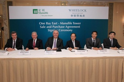 From left to right at the sale and purchase agreement signing ceremony for One Bay East -- West Tower: Kevin Adolphe, Global Head of Private Asset Management, Manulife Financial and President and CEO of Manulife Real Estate; Michael Huddart, Manulife's Executive Vice President and Chief Executive Officer for Hong Kong; Robert A. Cook, President and Chief Executive Officer of Manulife Financial Asia Limited; Stewart C. K. Leung, Chairman of Wheelock Properties Limited; Douglas Woo, Managing Director of Wheelock Properties Limited; and Ricky K. Y. Wong, Managing Director of Wheelock Properties Limited. One Bay East - West Tower will be named as Manulife Tower.