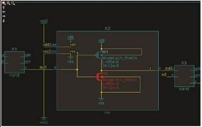 图2:采用 Calibre PERC 的 TDDB 检查法:一个具有高压路径的薄栅氧 PMOS(型号:pmos_lv)可能会导致 NTBI 。